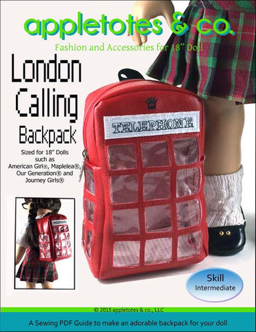 "London Calling Backpack 18"" Doll Accessory Pattern"