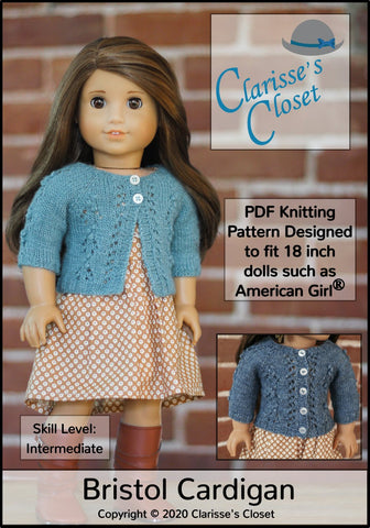 "Bristol Cardigan 18"" Doll Clothes Knitting Pattern"