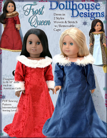 "Dollhouse Designs 18 Inch Modern Frost Queen 18"" Doll Clothes Pattern Pixie Faire"