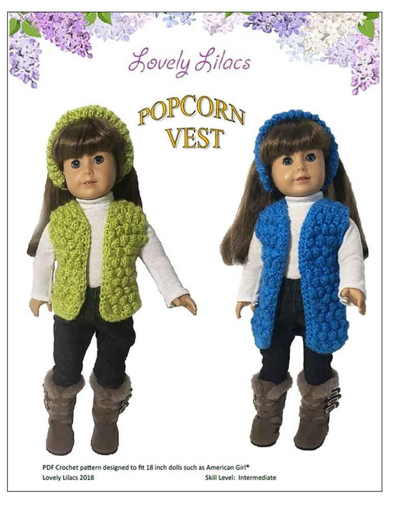 Lovely Lilacs Popcorn Vest Doll Clothes Pattern 18 Inch American