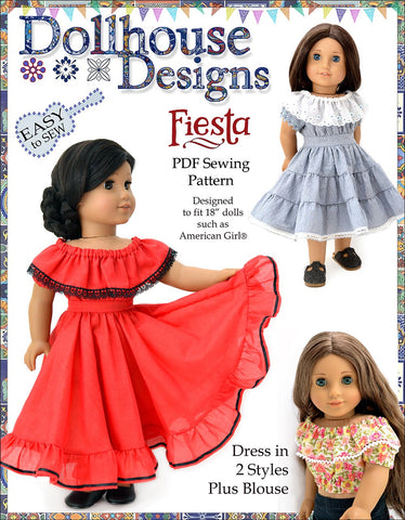 "Fiesta Folklorico Dress & Blouse 18"" Doll Clothes Pattern"