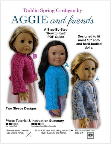 "Aggie and friends Knitting Dublin Spring Cardigan 18"" Doll Clothes Knitting Pattern Pixie Faire"
