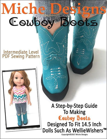 "Miche Designs WellieWishers Cowboy Boots 14.5"" Doll Clothes Pattern Pixie Faire"