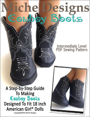 "Miche Designs Shoes Cowboy Boots 18"" Doll Shoes Pixie Faire"