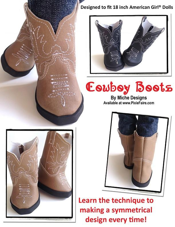 Miche Designs Cowboy Boots Doll Clothes Pattern 18 Inch