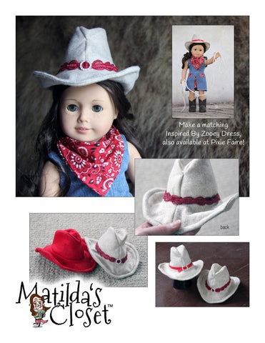 "Cowgirl Felt Hat & Neckerchief 18"" Doll Clothes"