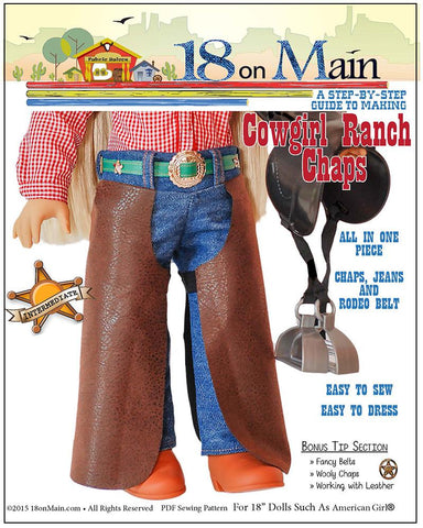 "18 On Main 18 Inch Modern Cowgirl Ranch Chaps 18"" Doll Clothes Pattern Pixie Faire"