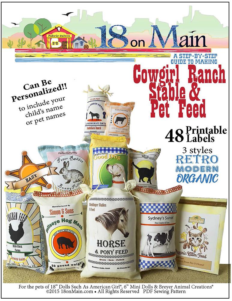 18 On Main Cowgirl Ranch Stable & Pet Feed Doll Pet Pattern