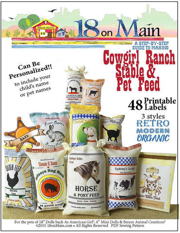 "18 On Main 18 Inch Modern Cowgirl Ranch Stable & Pet Feed 18"" Doll Pet Pattern Pixie Faire"