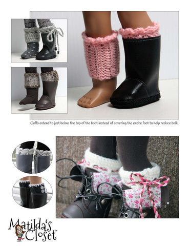"Crocheted Boot Cuffs 18"" Doll Accessories"
