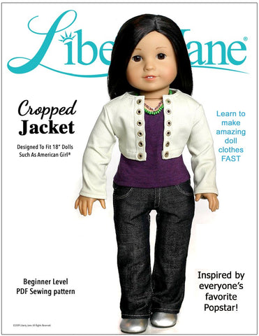 "Cropped Jacket 18"" Doll Clothes Pattern"