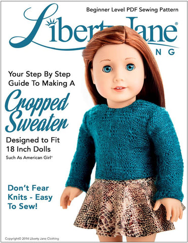 "Liberty Jane 18 Inch Modern Cropped Sweater 18"" Doll Clothes Pattern Pixie Faire"