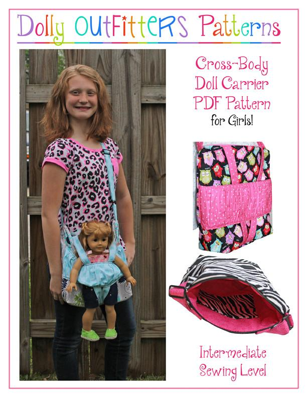 Cross Body Doll Carrier For Girls PDF Pattern Download | Pixie Faire