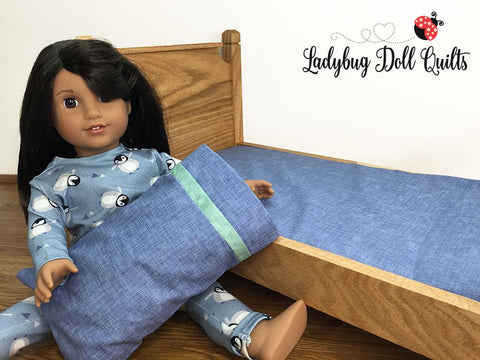 "Ladybug Doll Quilt Custom Mattress and pillow set bedding set pillow pillowcase designed to fit 18 inch American Girl Doll Bed 14 inch WellieWishers 11"" Barbie"