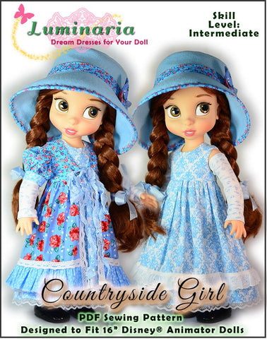 pdf sewing pattern countryside girl dress outfit designed to fit Disney Animators dolls