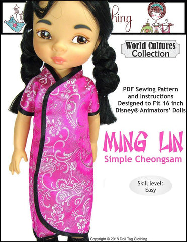 pdf doll clothes sewing pattern doll tag clothing ming lin chinese dress designed to fit 16 inch Disney Animators' dolls