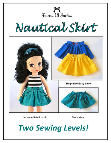 Forever 18 Inches Disney Animator Nautical Skirt for Disney Animator Dolls Pixie Faire