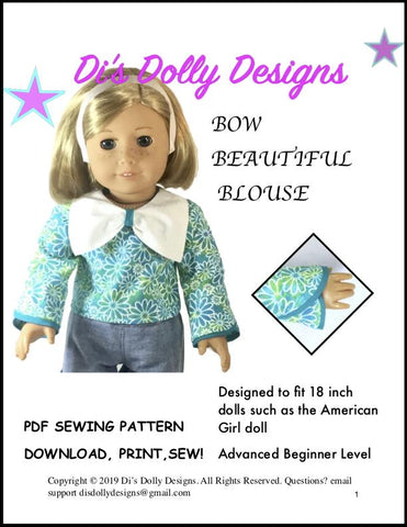 "Bow Beautiful Blouse 18"" Doll Clothes Pattern"