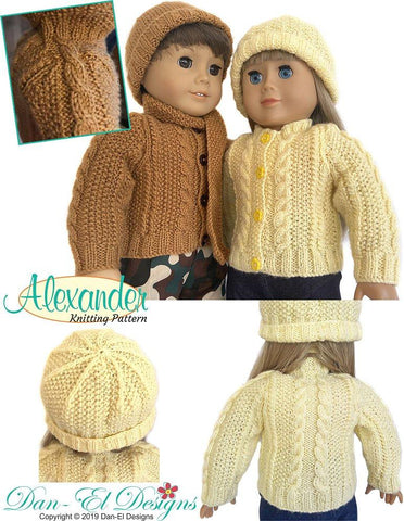 "Alexander Sweater 18"" Doll Knitting Pattern"