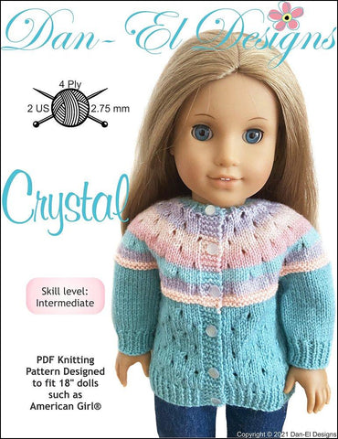 "Dan-El Designs Knitting Crystal 18"" Doll Clothes Knitting Pattern Pixie Faire"