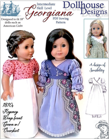 "Georgiana 1812 Regency Gown 18"" Doll Clothes Pattern"
