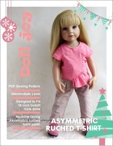 "Asymmetric Ruched T-Shirt Pattern for 19"" Gotz Dolls"
