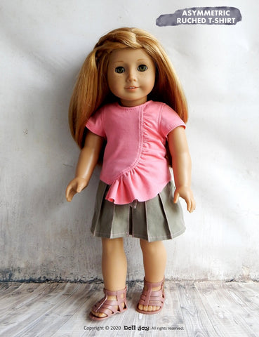 Asymmetric Ruched T-shirt 18 inch Doll Clothes Pattern