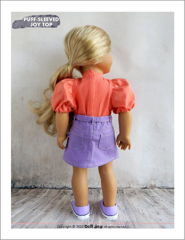 "Puff-Sleeved Joy Top 18"" Doll Clothes Pattern"