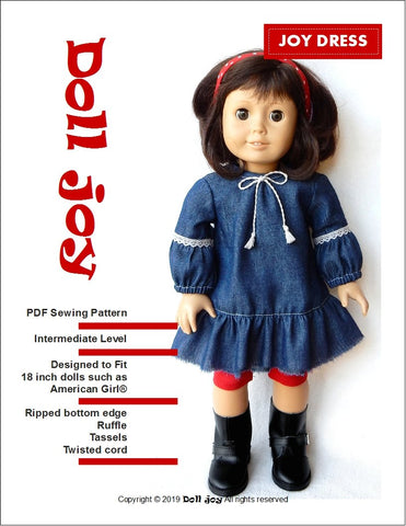 "Joy Dress 18"" Doll Clothes Pattern"