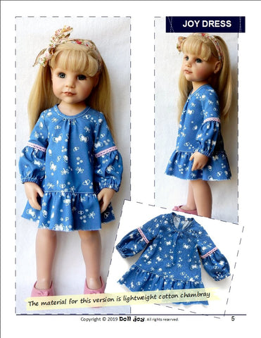 "Joy Dress Pattern for 19"" Gotz Dolls"