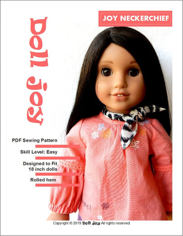 "Doll Joy 18 Inch Modern FREE Joy Neckerchief 18"" Doll Clothes Pattern Pixie Faire"