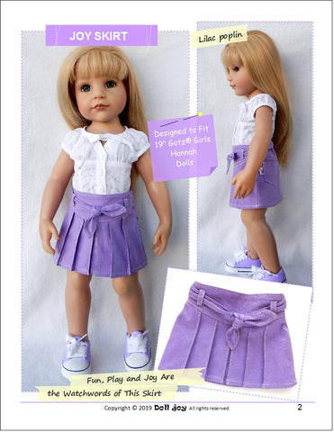 "Joy Skirt Pattern for 19"" Gotz Dolls"