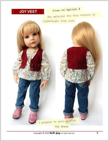"Joy Vest Pattern for 19"" Gotz Dolls"
