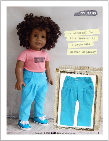 "Joy Jeans 18"" Doll Clothes Pattern"