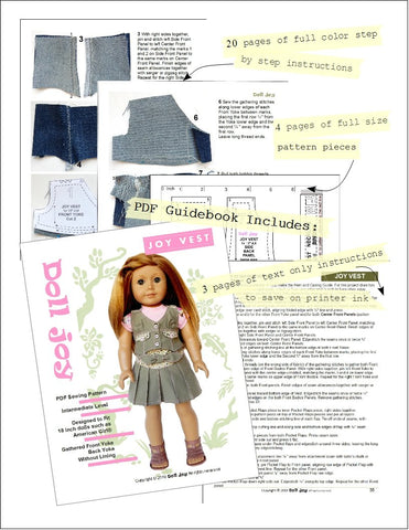 "Joy Vest 18"" Doll Clothes Pattern"