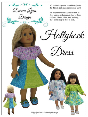 "Hollyhock Dress 18"" Doll Clothes Pattern"