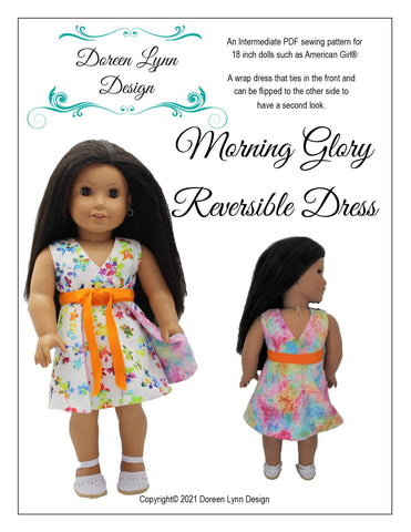 "Morning Glory Reversible Dress 18"" Doll Clothes Pattern"