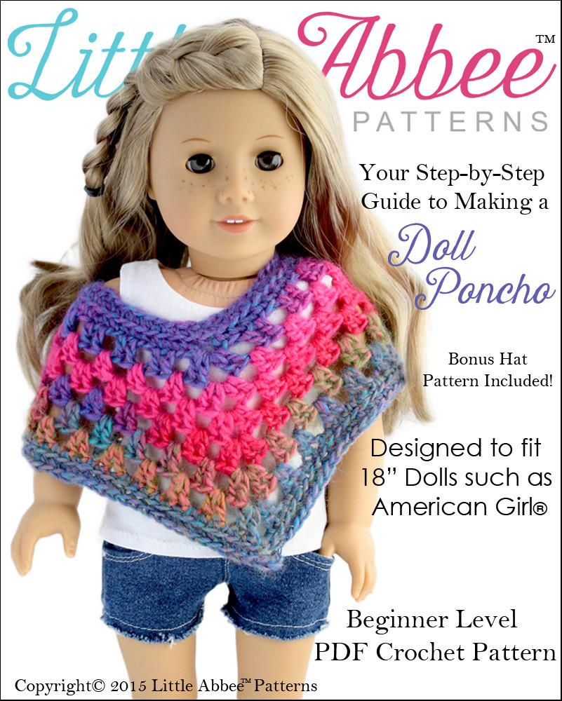 Little Abbee Doll Poncho Doll Clothes Pattern 18 Inch American Girl
