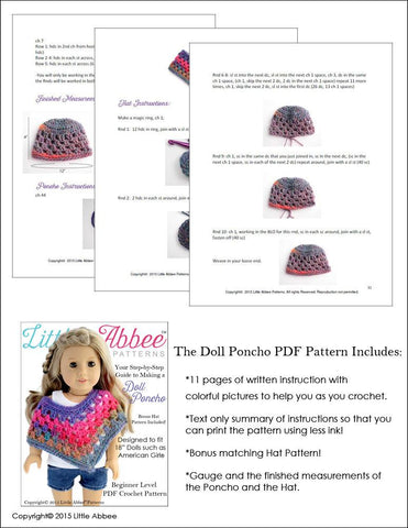 Doll Poncho Crochet Pattern