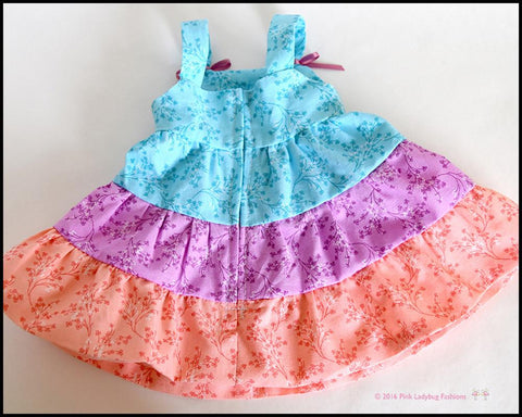 "Dainty Ruffled Dress 18"" Doll Clothes Pattern"
