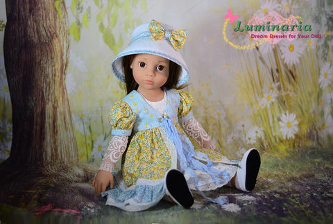 PDF Doll Clothes Sewing Pattern Dress, Pinafore, Hat, Arm warmers Designed to fit Gotz