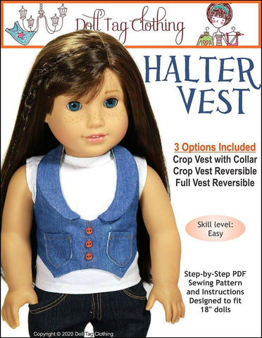 "Halter Vest 18"" Doll Clothes Pattern"