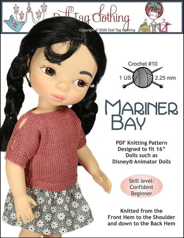 Mariner Bay Doll Clothes Knitting Pattern fits Disney Animator Dolls