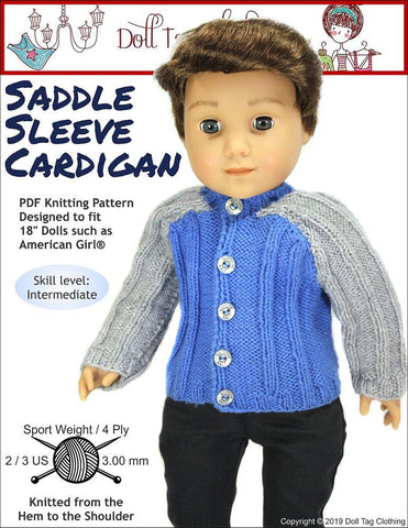 "Saddle Sleeve Cardigan 18"" Knitting Pattern"