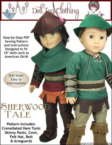 "Doll Tag Clothing 18 Inch Modern Sherwood Tale 18"" Doll Clothes Pattern Pixie Faire"