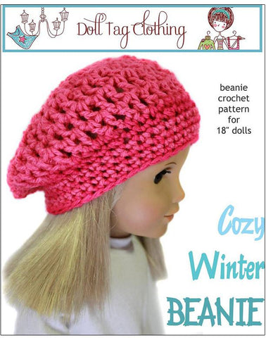 "Doll Tag Clothing Crochet Cozy Winter Beanie Crochet Pattern 18"" Dolls Pixie Faire"