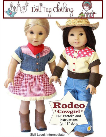 "Doll Tag Clothing 18 Inch Modern Rodeo Cowgirl 18"" Doll Clothes Pattern Pixie Faire"