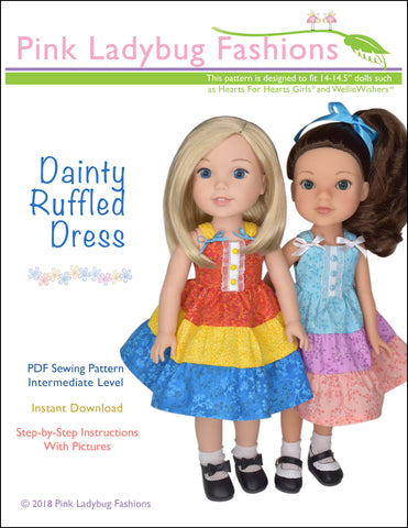 pdf doll clothes sewing pattern Pink Ladybug Dainty Ruffled Dress designed to fit 14 to 14.5 inch Hearts For Hearts Girls and WellieWishers Dolls