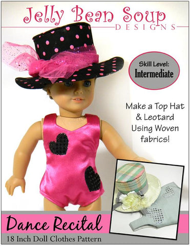 "Jelly Bean Soup Designs 18 Inch Modern Dance Recital Top Hat and Leotard 18"" Doll Clothes Pattern Pixie Faire"