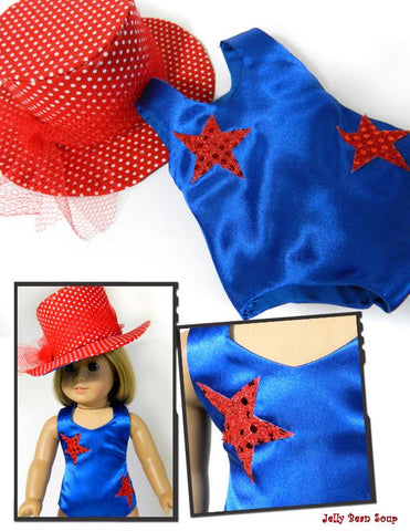 "Dance Recital Top Hat and Leotard 18"" Doll Clothes Pattern"